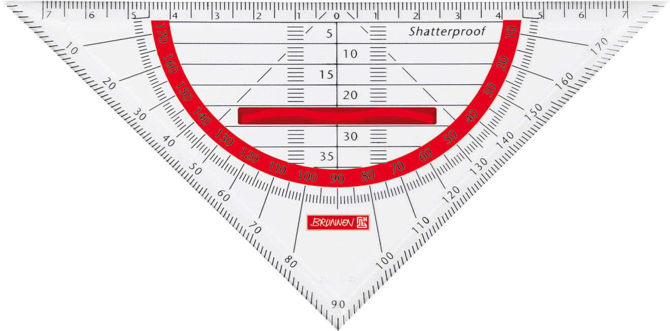 Geometrie-Dreieck Colour Code 16 cm red