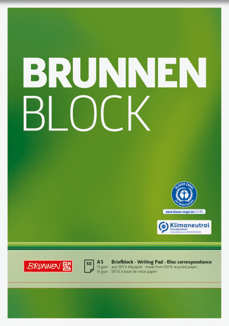 "Block ""BRUNNEN-Block"" Recycling A5 unliniert"
