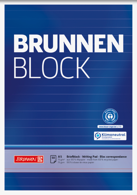 "Block ""BRUNNEN-Block"" Recycling A5 liniert"
