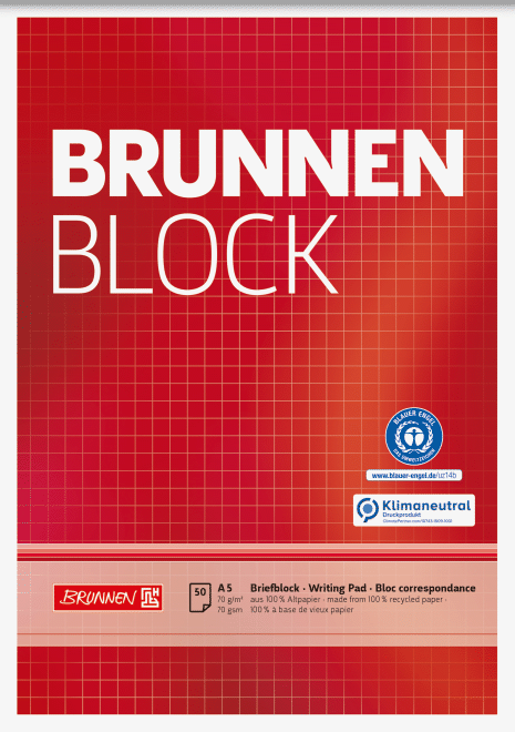 "Block ""BRUNNEN-Block"" Recycling A5 kariert"