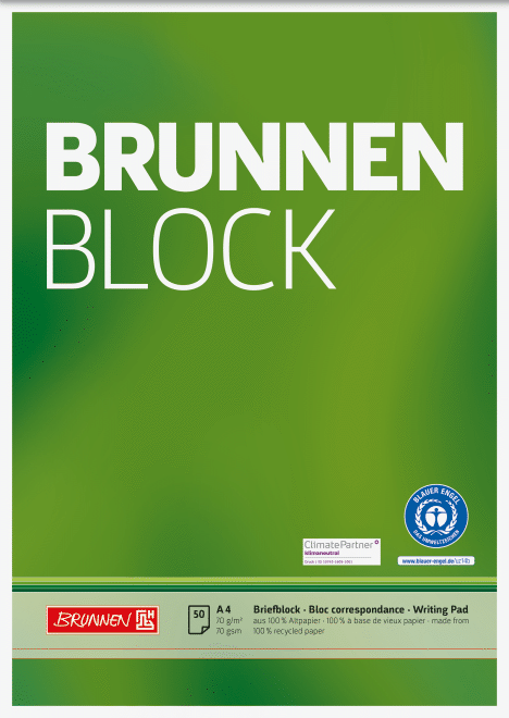 "Block ""BRUNNEN-Block"" Recycling A4 unliniert"