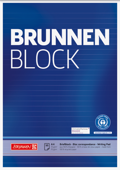 "Block ""BRUNNEN-Block"" Recycling A4 liniert"