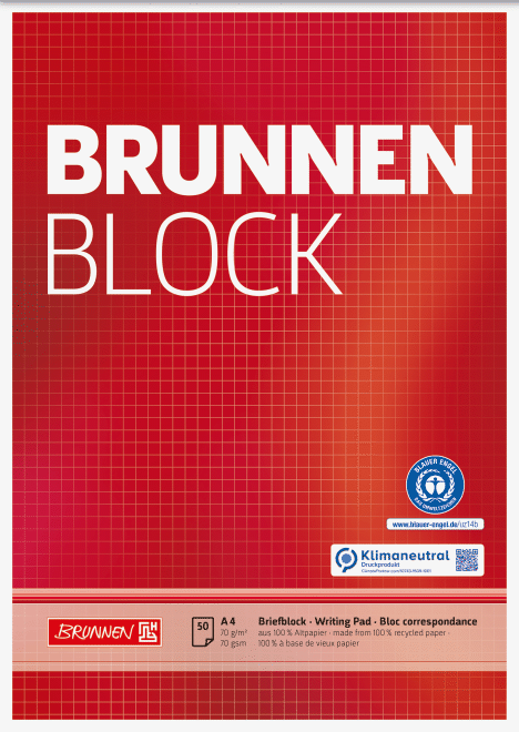 "Block ""BRUNNEN-Block"" Recycling A4 kariert"