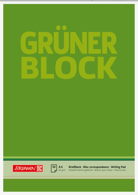 "Block ""Grüner Block"" A4 unliniert"