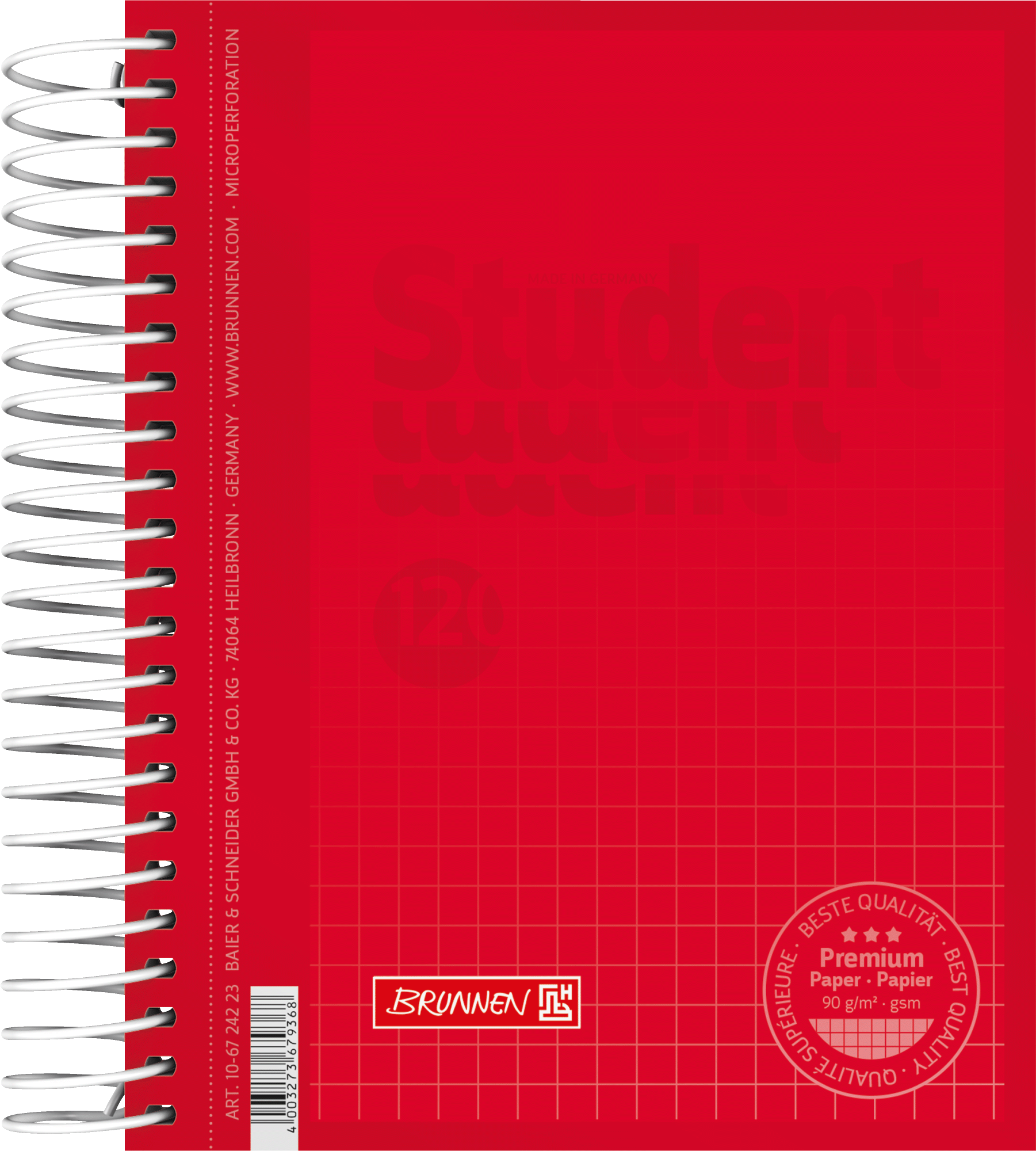 Collegeblock Premium Student Colour Code A6 5 mm kariert Deckblatt: red