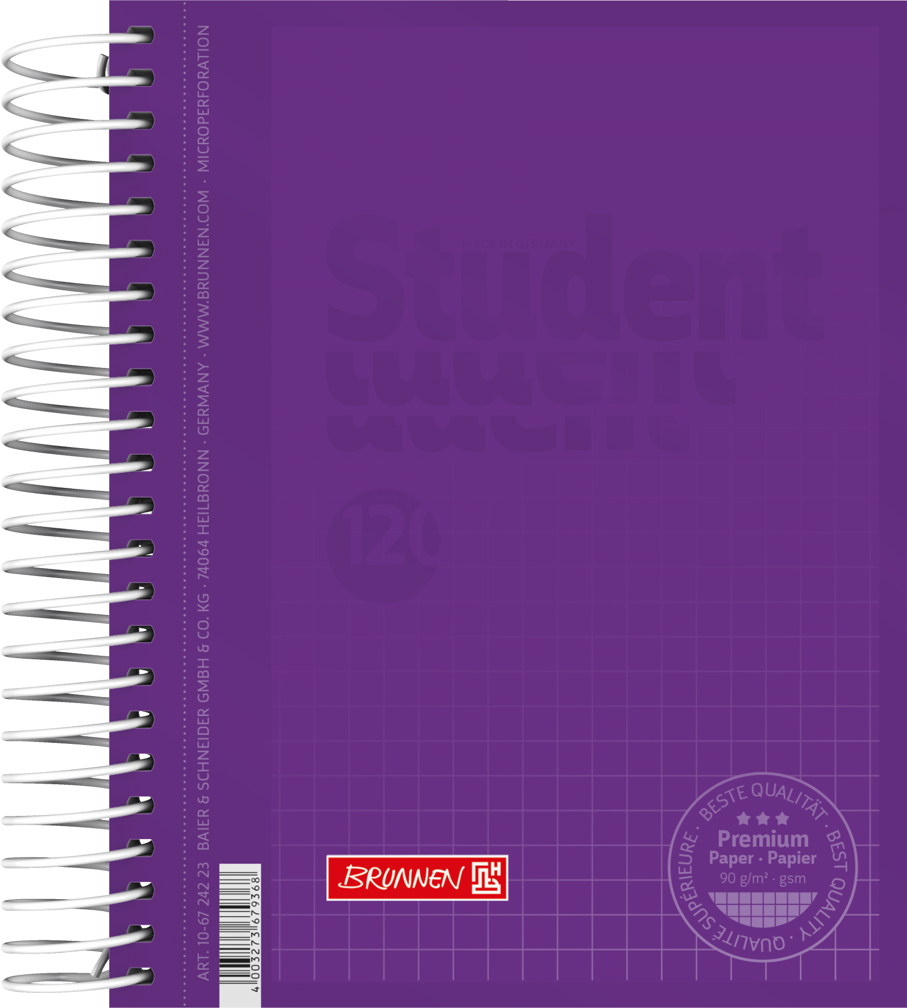 Collegeblock Premium Student Colour Code A6 5 mm kariert Deckblatt: purple