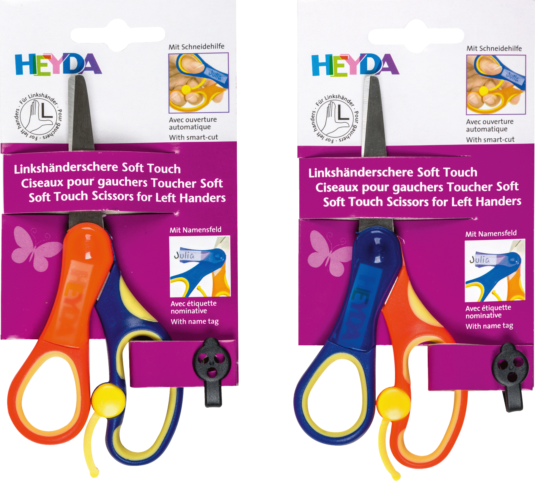Kinderschere Soft-Touch Linkshänder 13,5 cm Grifffarbe: blau/gelb/orange